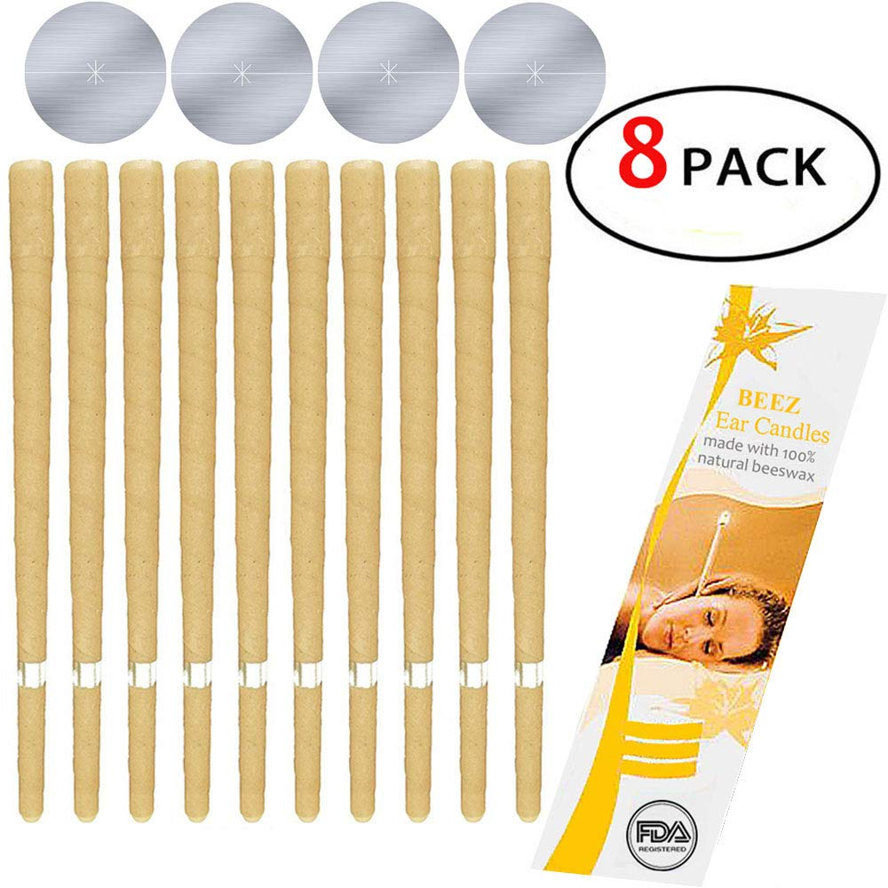 8 Pcs 100% Natural and Non-Toxic Beeswax Cone Ear Candle, Odorless Hollow Beeswax Candles Phototherapy Earrings Candling Wax Removal Kit Health Care