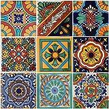 """Color y Tradicion 9 Mexican Tiles 4""""x 4"""" Hand Painted Talavera F-50"""