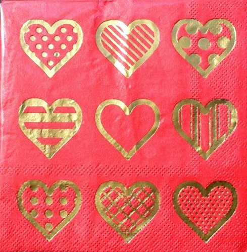 Lady jAYNE Set of 40 Gold Foil Cocktail Beverage Paper Napkins- Patterned Hearts ()