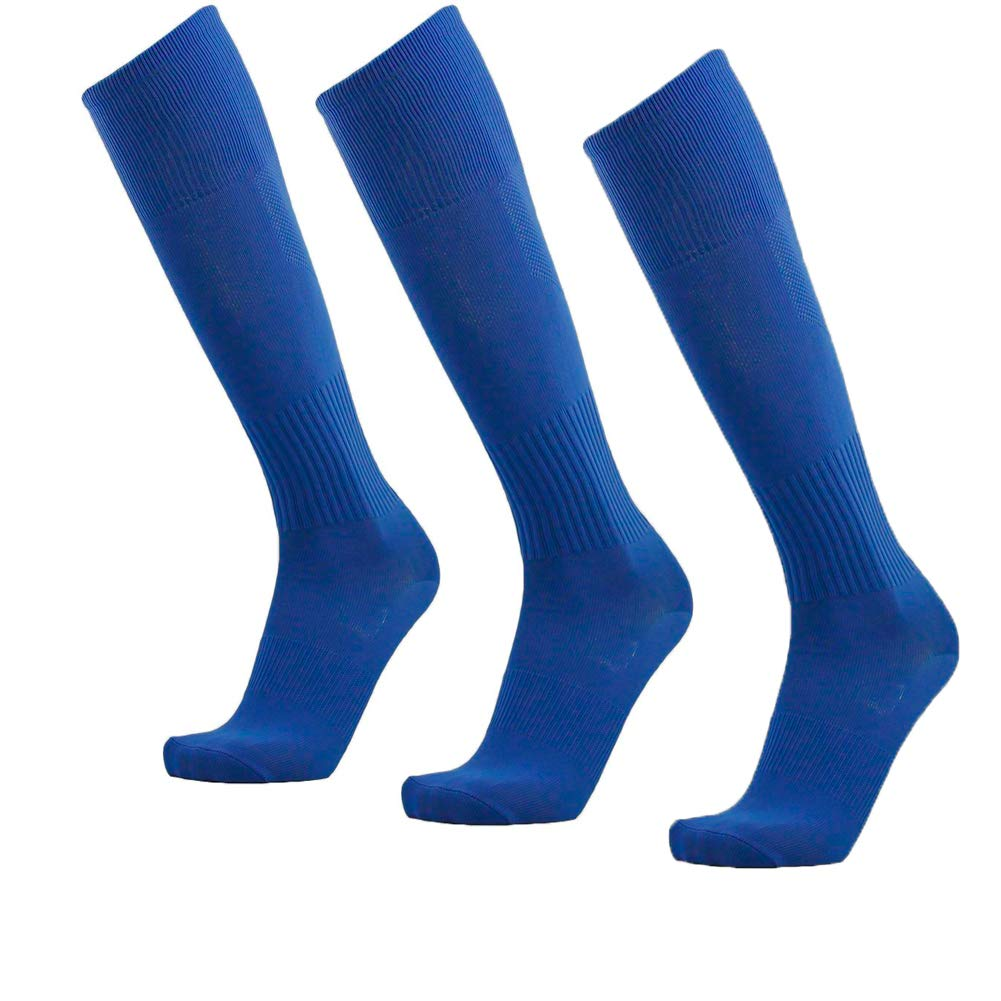 Unisex Athletic Knee High Breathable Compression Solid Tube Soccer Football Sport Socks 3/12 Pairs ... (Blue-Unisex 3 pairs) by ZM-SPORTS