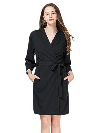 eef890cbd6 Image Unavailable. Image not available for. Color  Anna King Women s Waffle Robe  Lightweight Soft Kimono Knit Bathrobe Loungewear Sleepwear Short ...