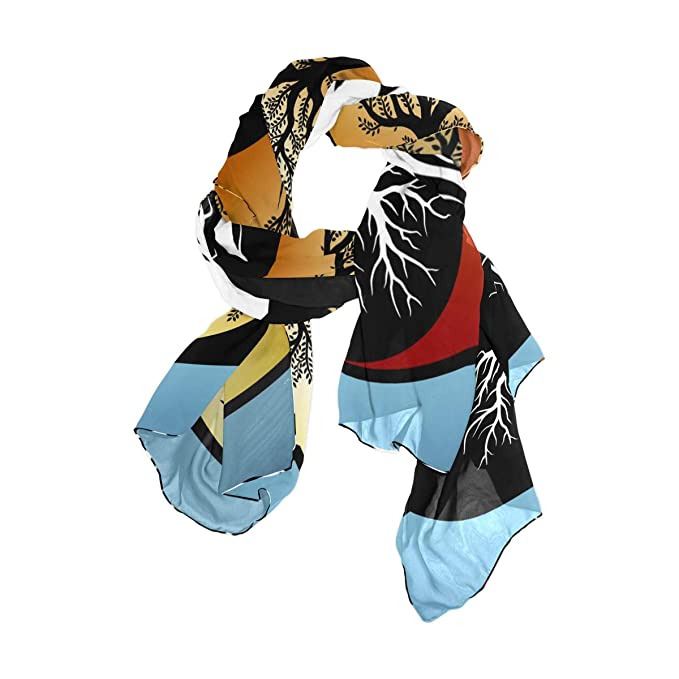 17ca9cb28 Dragon Sword Women's Scarves Tree And It's Roots In Yin Yang Symbol ...