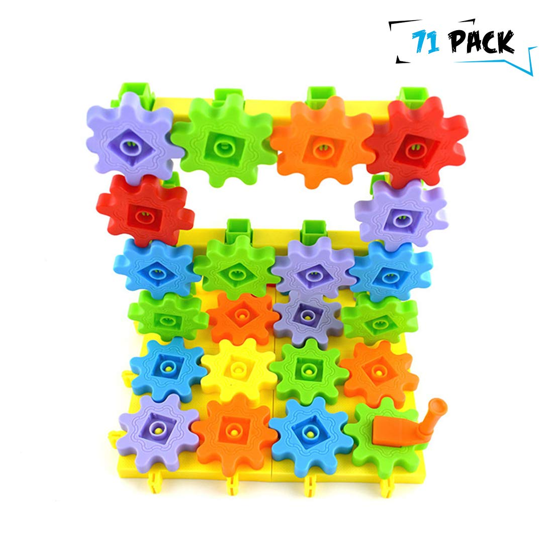 NEWBEGIN Learning Resources Gears, 71 Pieces Gear Building Blocks Set Educational Toy Interlocking Learning Blocks Colorful Spinning Gears
