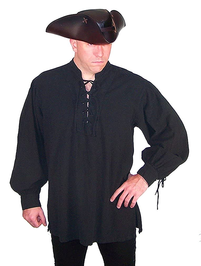 Men's Historically Accurate Black Cotton Privateer Shirt