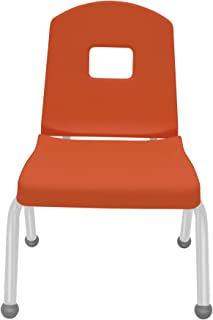 "product image for 12"" Creative Colors Split Bucket Chair in Autumn Orange with Platinum Silver Frame and Ball Glide"