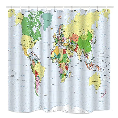 DYNH Modern World Map Shower Curtain, Waterproof Polyester Fabric Bathroom Decor, Bath Curtains Accessories, with Hooks, 69X70 Inches