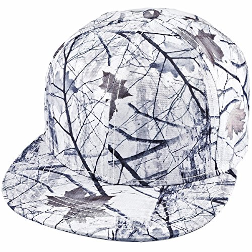 Samtree Unisex Snapback Hat,3D Camo Leaves Printed Outdoor Hunting Flat Brim Baseball Cap (01-Snow and Leaves)
