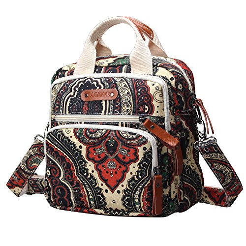 - LAGAFFE Girls Multifunction Small Casual Vintage Canvas Shoulder Top Handle Handbag Crossbody Satchel Purse Backpack HD1085 (Orange national style)