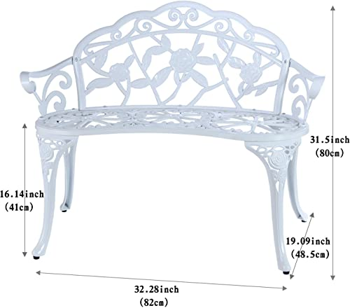 Loveseat Bench Double seat Steel Patio Garden Bench Park Yard Outdoor Furniture Patio Balcony Benches White