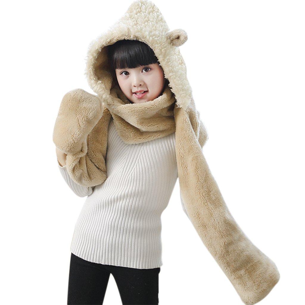a253cd1df414 Amazon.com  Kids Teens Girls 3 in 1 Warm Plush Fluffy Cartoon Winter ...