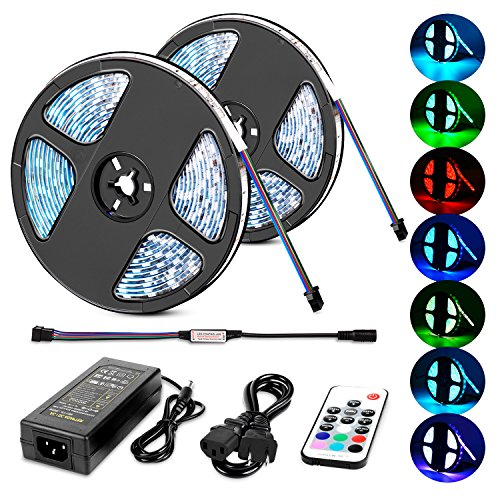 Nilight LED light strip 5050 32.8ft(10m) 600LEDs RGB Strip Lights LED Rope Light With Remote Controller DC 12V 2A Power Supply Adapter for Home & Kitchen, Christmas Decorative, 2 Years Warranty