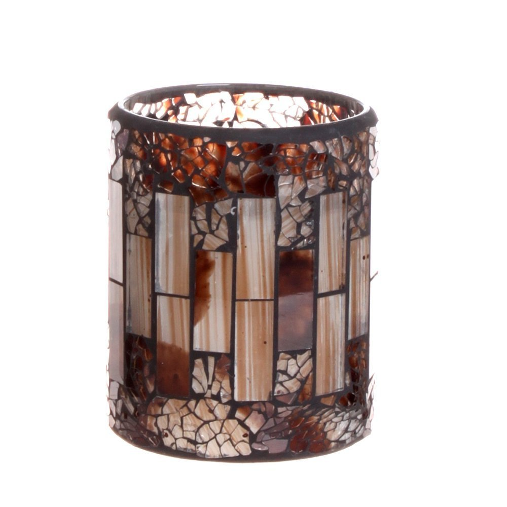 GiveU Brown Mosaic Flameless Candle,Pillar Led Candle with Timer, 3X4, for Home Decor, Weddings, Party and Awesome Gift 3X4 FBA_MO14031