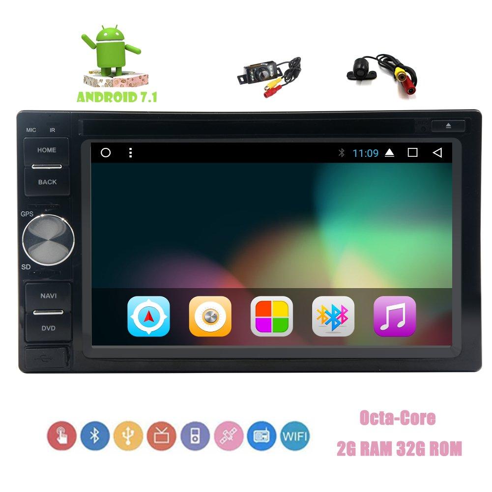ダブルサポートCD DVD 1080Pビデオの無線LANリモートコントロールはDINダッシュでフロント&バックアップカメラ!Eincar Androidのカーステレオ6.2インチタッチスクリーンオクタコアGPSナビゲーションBluetoothカーGPSはステレオ7.1システム B077MFLB4T