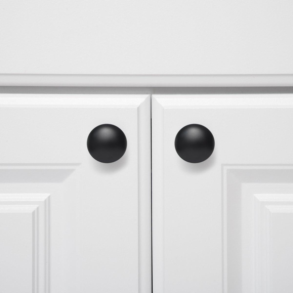 1.18-inch Diameter Flat Black Basics Round Cabinet Knob 10-Pack