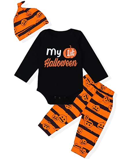 2ec161044 3Pcs My First Halloween Stripe Outfit Set Baby Boys Girls Cute Romper  Clothing Set