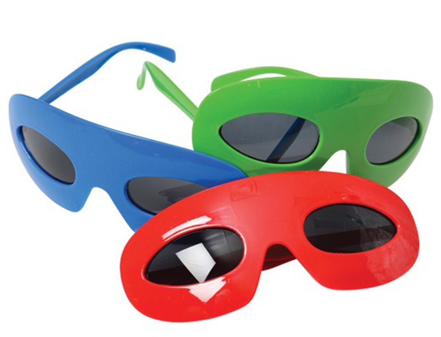 TwiceBooked Set of 3 Super Hero Glasses Masks 1 Each Red Blue Green