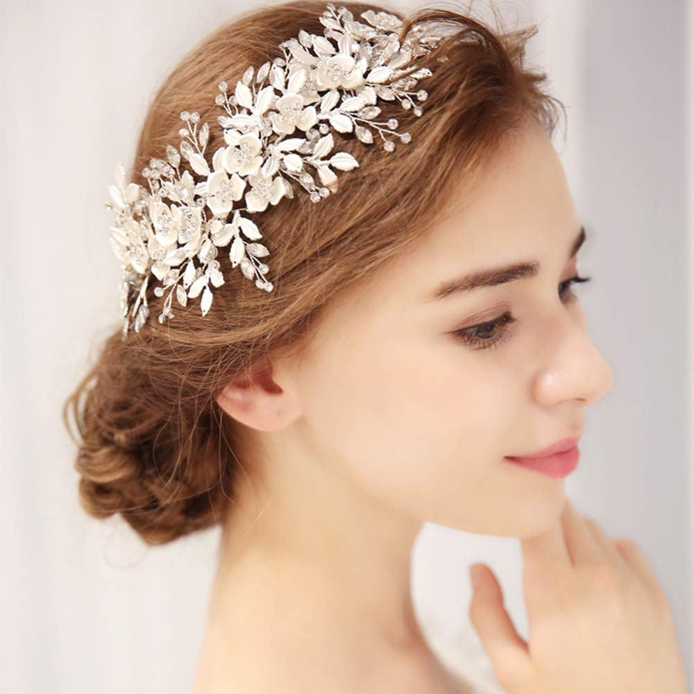 mecresh Handmade Bridal Floral Headpiece Marquise Crystal Wedding Leaf Headband Hair Accessories for Women Party in Silver by mecresh
