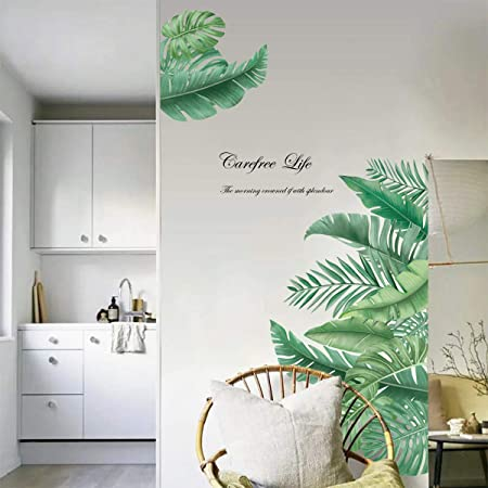 decalmile Pegatinas de Pared Planta Tropicales Vinilos Decorativos Hojas Verde Grandes Adhesivos Pared Sala Habitación Dormitorio Oficina (W:90cm): Amazon.es: Hogar