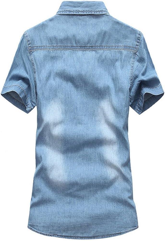 Hombre Moda T-Shirts Camisa Vaquera de Manga Cortas Slim Fit con Bolsillos S Azul Claro: Amazon.es: Ropa y accesorios