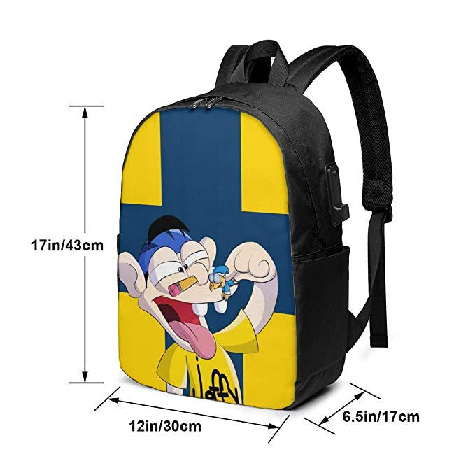 YunDon 3D Printing Jeffy 17 Inch Backpack//School Bag with USB Interface