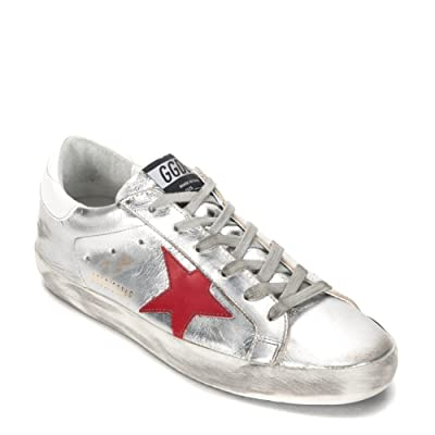 Golden Goose Women's Superstar Sneaker G31WS590.C34 Silver/Red/Blue