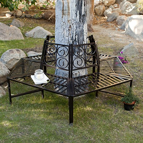Wrap Around Tree Bench, This Metal Tree Surround Bench Is Ideal in Outdoor Gardens and Backyard Seating Area, Add This Wrap Around Garden Bench for Creativity! Surround Bench Is Made of Heavy Iron (Backyard Area Seating)