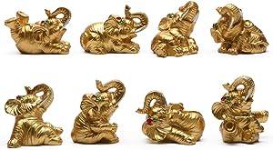 "BRASSTAR Resin Statue Thai Eight Elephants 1.8"" Home Office Feng Shui Decor Collection Figurine Love Wealth Luck Gather PTZD048(Golden)"