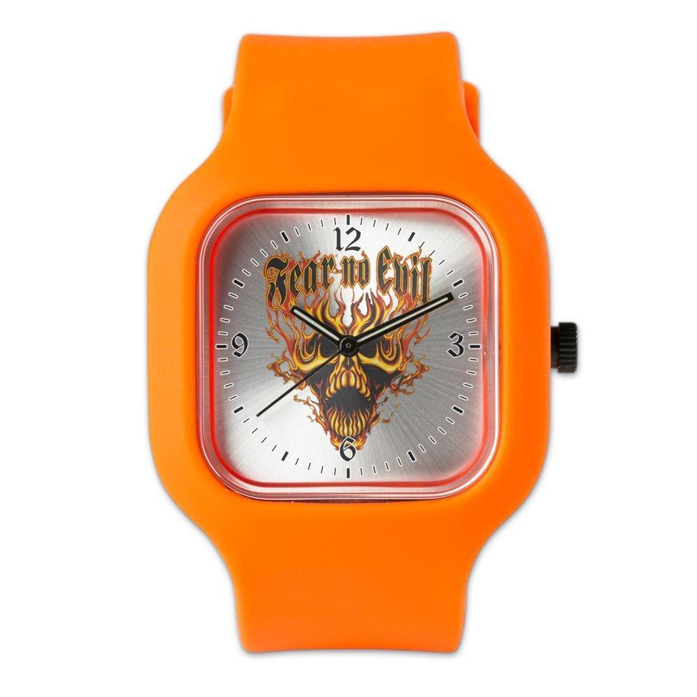 Orange Fashion Sport Watch Fear No Evil Flaming Skull