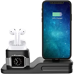 Fullbell 3 in 1 Charging Dock Station Premium Silicone Charger Compatible with Apple Watch, Airpods