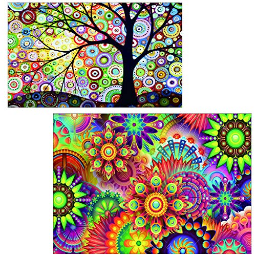 5D DIY Diamond Painting by Number Kits Full Drill Cross Stitch Rhinestone Embroidery Paint for Kaleidoscope Mandala(16X12inch) Colorful Dream Tree(12X8inch) (Kaleidoscope Kit Eye)