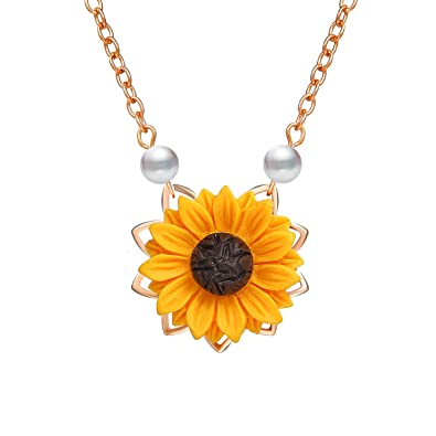 bc1c5673e 17mile Gold Resin Necklace Yellow Sunflower Necklace Gold Sunflower Pendant  Necklace Pearl Handmade Drop Choker Necklace