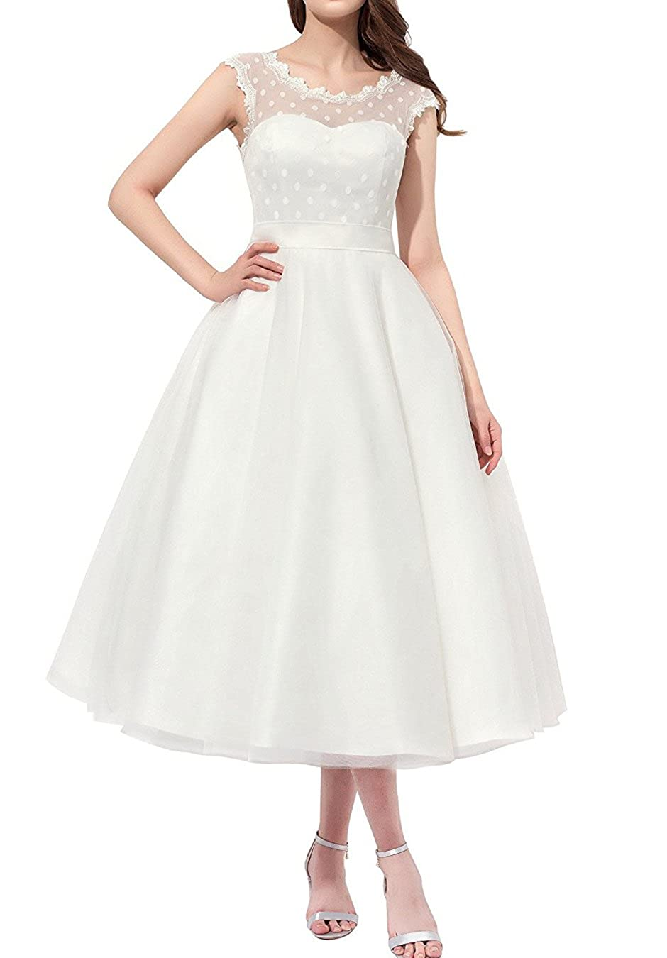 Women Vintage 1950s Tea Length Little Polka Dots Tulle Wedding Dress