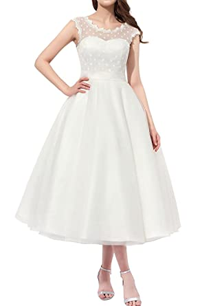 Women Vintage 1950s Tea Length Little Polka Dots Tulle Wedding Dress Bridal Ball Gown Ivory Size