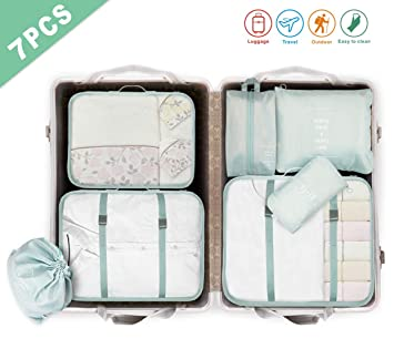 18303982f8e3d Idefair Travel Organizers Packing Bags,7PCS Waterproof Luggage Organiser  Packing Cubes Shoes Clothes Storage Bags Accessories Organizer for Dry ...