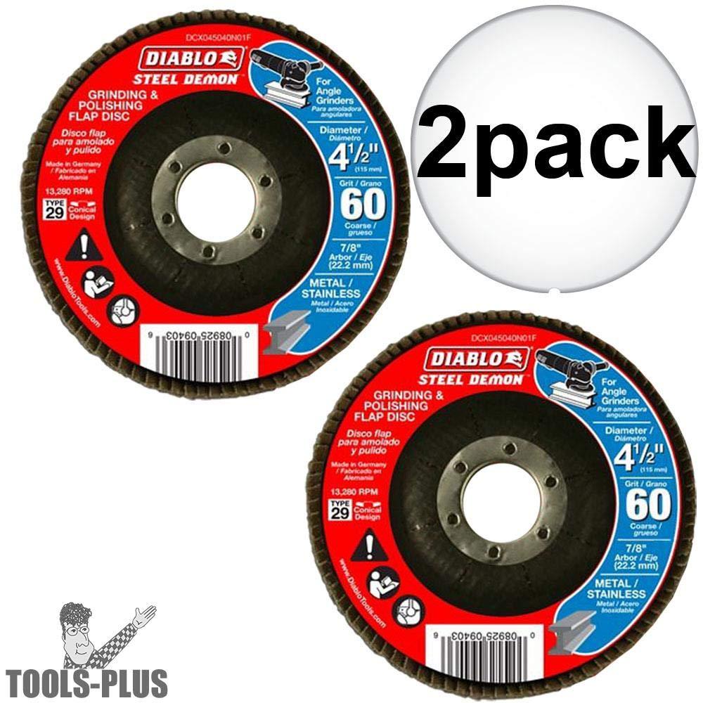 Diablo DCX045060N01F 4-1//2 Steel Demon Flap Disc 60 Grit 2-Pack
