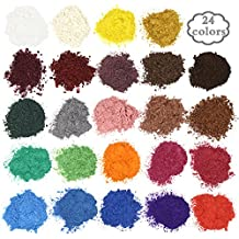 Soap Dye - Mica Powder Pigments for bath bomb - Soap Making Colorant - 24 Beautiful Colors (0.18 oz each) - Candle Making, Eye Shadow, Blush, Nail Art, Resin Jewelry, Artist, Craft Projects