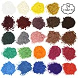 Arts & Crafts : Soap dye - Mica powder - Pigment powder for bath bomb - Soap making colorant - 24 coloring - Resin dye, Eye shadow, Blush, Nail art, Resin jewelry, Artist, Craft projects
