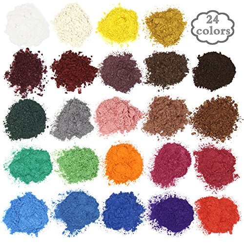 Soap Dye - Mica Powder Pigments for bath bomb - Soap Making Colorant - 24 Beautiful Colors (0.18 oz each) - Candle Making, Eye Shadow, Blush, Nail Art, Resin Jewelry, Artist, Craft Projects (Colorant Bomb Pink Bath Dye)