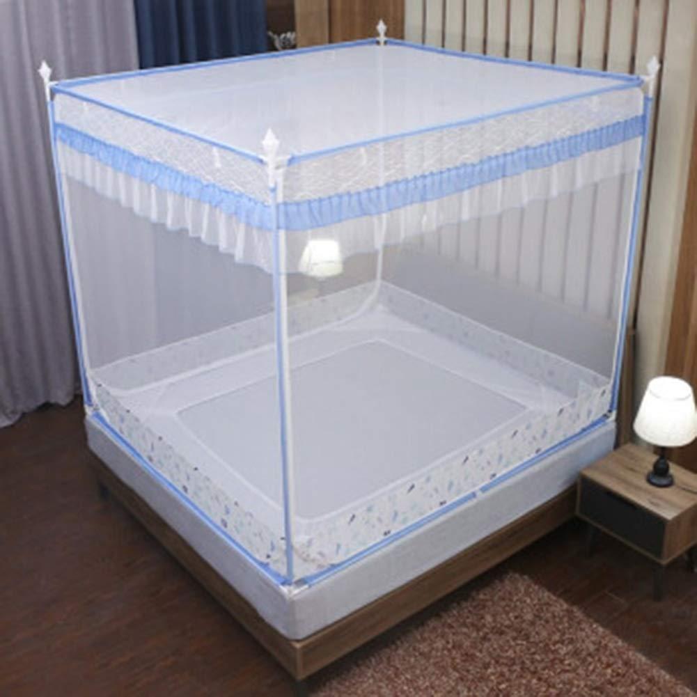 ベッドカーテン家庭用カーテンスクエアトップカーテン1.5 / 1.8mのベッドが適していますステンレス鋼チューブブラケット抗蚊に刺された厚い暗号化ベッドカーテン GMING (色 : 緑, サイズ さいず : 180*220cm bed) B07R3JS3WF 青 180*200cm bed 180*200cm bed|青