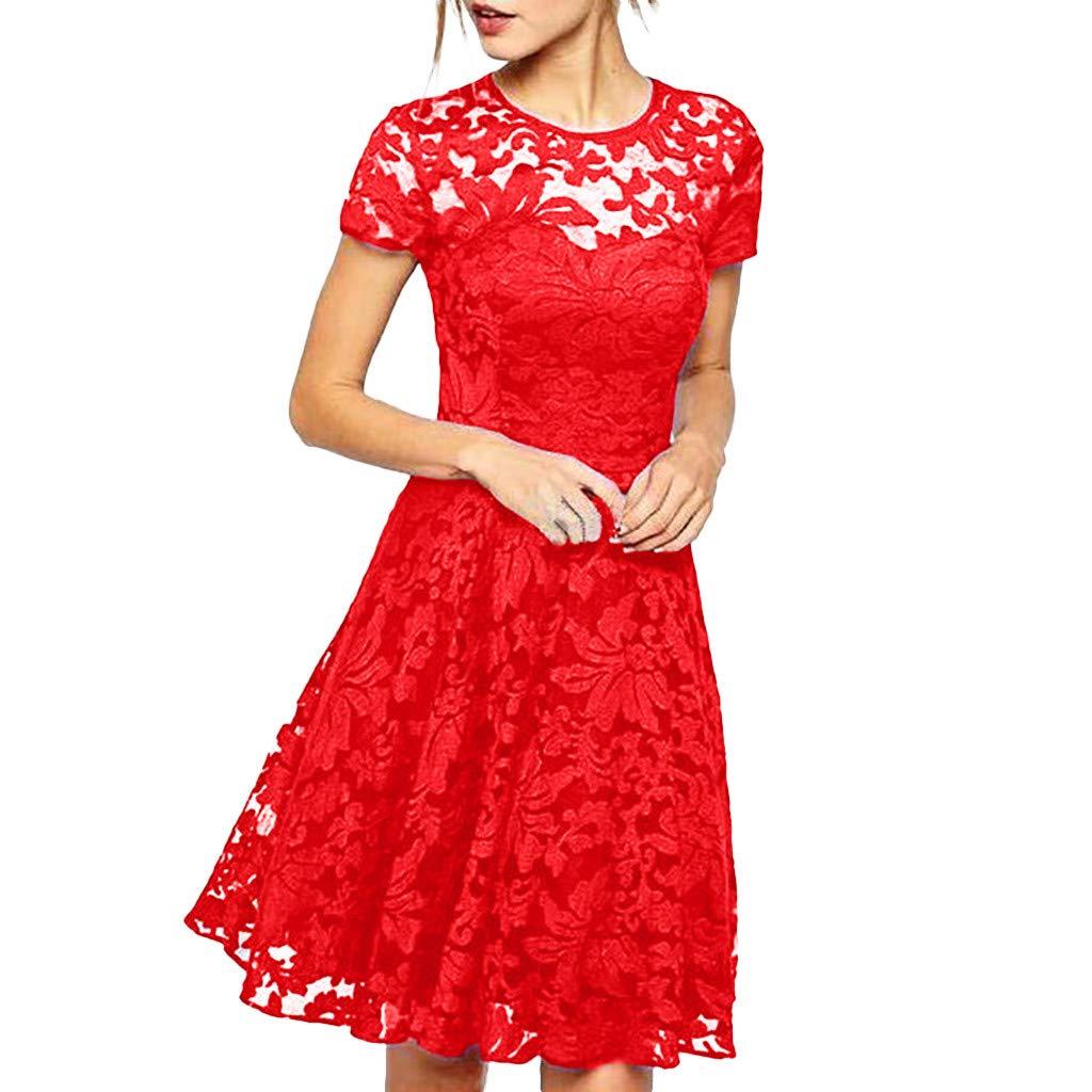 DOLDOA Women's Summer Casual Lace Patchwork T Shirt Dresses Short Sleeve Swing Dress Sale