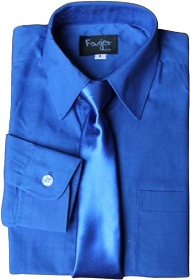 BIMARO Camisa infantil con seidener corbata Royal Azul Camisa ...