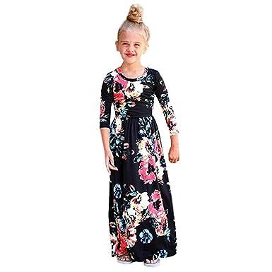 ebc68d04fac Fairy Baby Girls Long Sleeve Casual Maxi Dress Toddler Floral Flower  Holiday Beach Sundress Size 6T