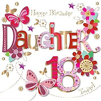 Daughter 18th Birthday Handmade Embellished Greeting Card By Talking