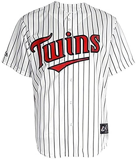 e0a6d6835 Amazon.com   VF Minnesota Twins MLB Mens Majestic White Pinstrips Replica Jersey  Size 4XL   Sports   Outdoors