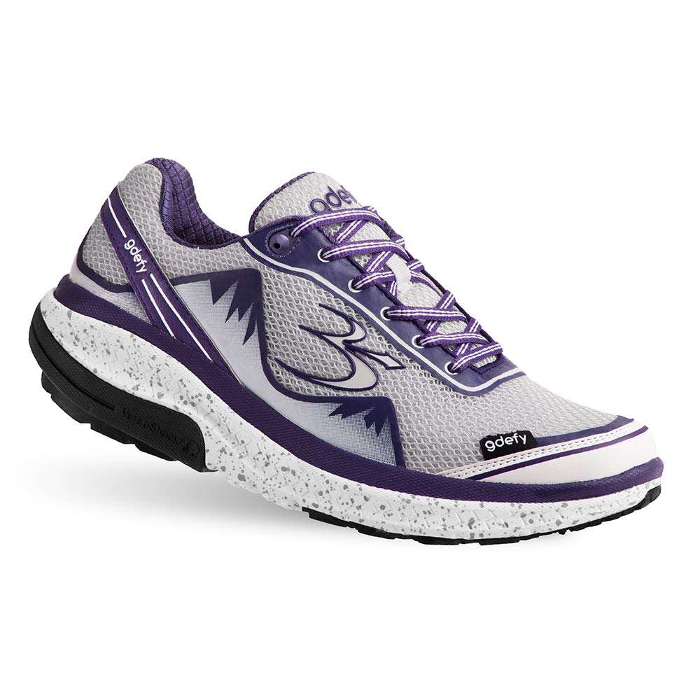 Gravity Defyer Proven Pain Relief Women's G-Defy Mighty Walk White Purple Athletic Shoes 6 M US - Best Shoes for Heel Pain, Foot Pain and Plantar Fasciitis
