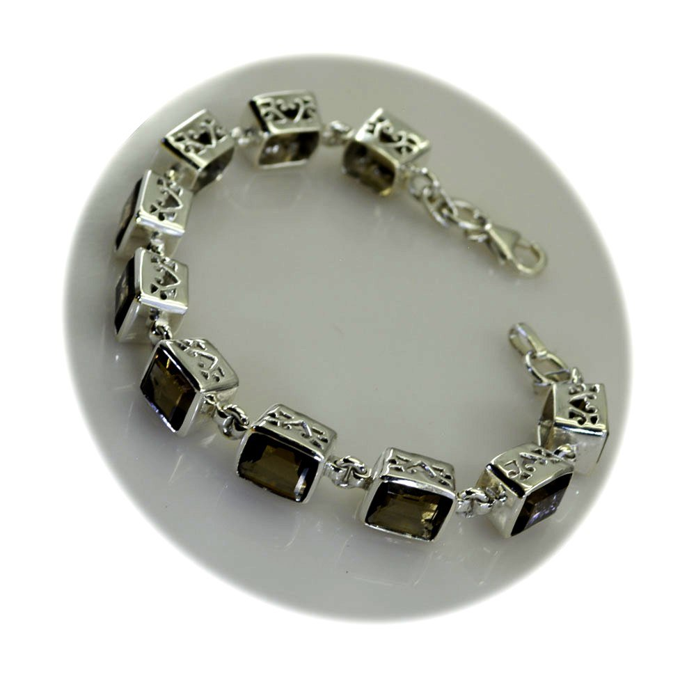 Natural Emearld Cut Smoky Quartz Bracelet Sterling Silver Jewelry For Women & Girls Length 6.5-8 Inches