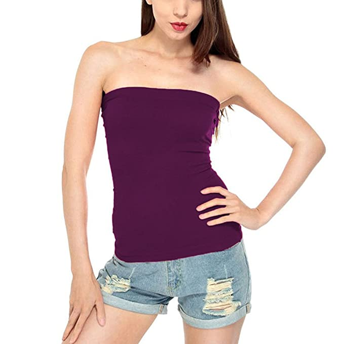 df35c6024b Lycrasoft Dark Purple Color Tube Top For Women s  Amazon.in  Clothing    Accessories