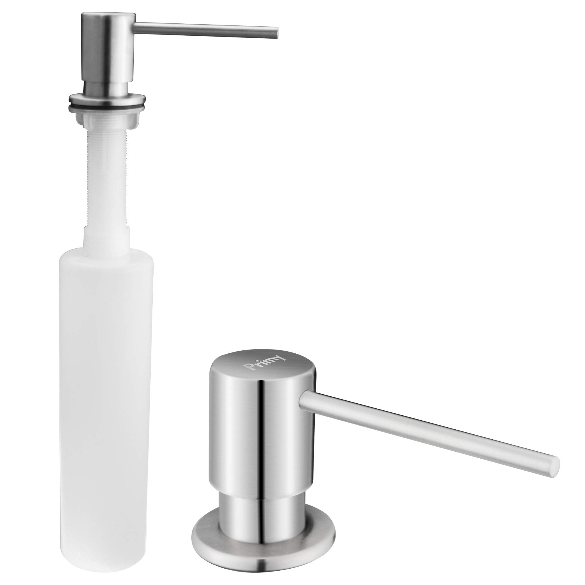 Primy Soap Dispenser for Kitchen Sink Refill From The Top with Large 17 oz Bottle - 3.5 Inch Threaded Tube for Granite Installation - 4 Inch Extra Long Spout - Stainless Steel Dispenser