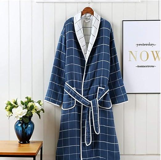 KX-YF Pijama Caballeros y señoras de 100% algodón Cuello Esmoquin Terry Albornoz Bata Bata Invierno Mullido Albornoz Bata Larga Bata Loungewear Albornoz (Color : Blue, Size : XL): Amazon.es: Hogar