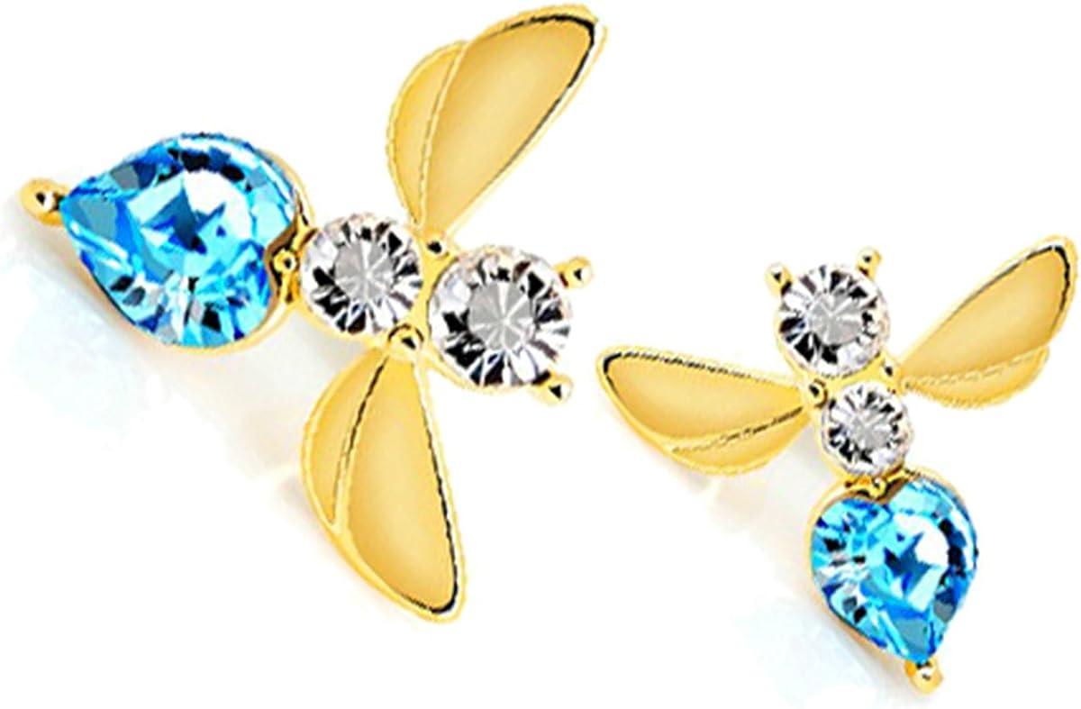 GWG Jewellery Pendientes Mujer Regalo Pendientes, Colgantes Chapados en Oro 18K Abeja Embellecida con Piedras Blancas y Cristal de Colores Varios para Mujeres